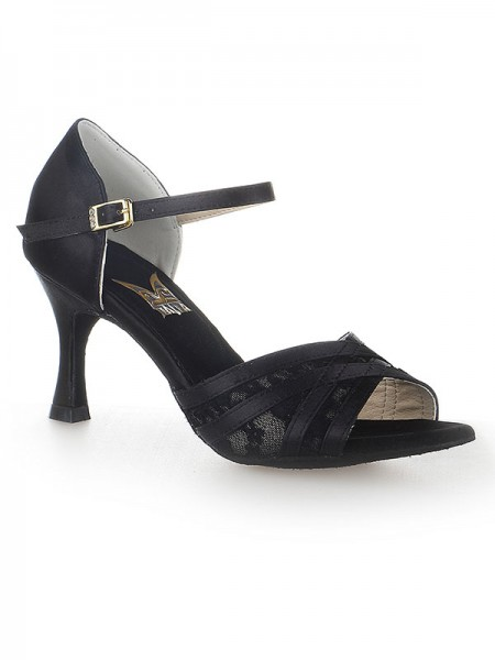 Kvinders Peep Toe Stiletto Hæl Satin Buckle Dansesko