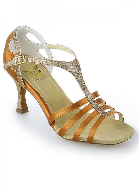 Kvinders Peep Toe Buckle Stiletto Hæl Satin Dansesko