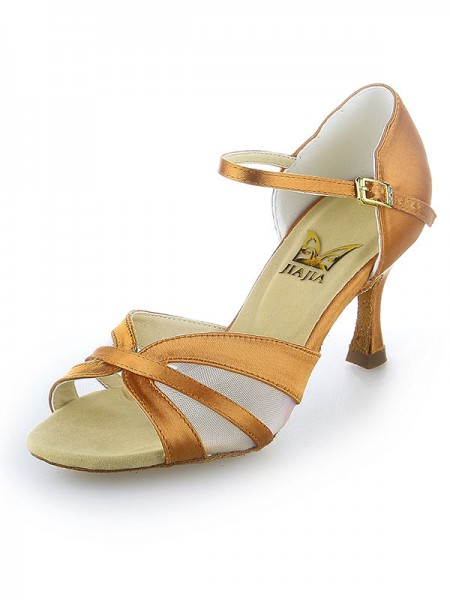 Kvinders Satin Peep Toe Buckle Stiletto Hæl Dansesko