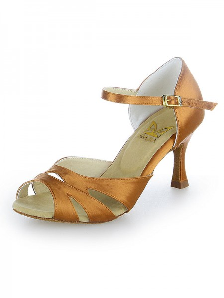 Kvinders Peep Toe Buckle Satin Stiletto Hæl Dansesko